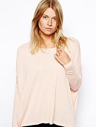 Women's Pink/Purple T-shirt , Round Neck Long Sleeve