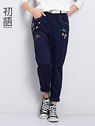 Toyouth ® The spring of 2015  Embroidery printing straight waist trousers