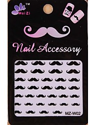1PCS Cartoon Mustache Style Nail Art Stickers MZ Series MZ-W02