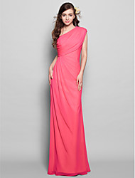 Lanting Bride® Floor-length Chiffon Bridesmaid Dress - Sheath / Column One Shoulder Plus Size / Petite with Side Draping