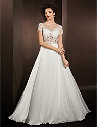 A-Line Illusion Neckline Floor Length Lace Satin Chiffon Wedding Dress with Beading Appliques by LAN TING BRIDE®