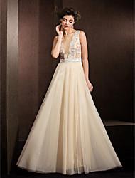 A-line Wedding Dress - Champagne Floor-length Jewel Tulle
