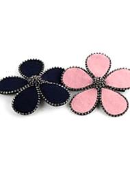 dulce flor de tela de color rosa con pasadores de diamante de imitación para las mujeres (azul, rosa) (1 unidad)