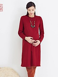 Women's Vintage Micro-elastic Long Sleeve Knee-length Maternity Dress (Cotton)