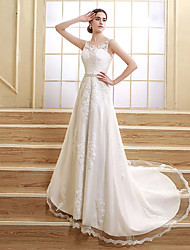 A-line Wedding Dress - Elegant & Luxurious Lacy Looks Court Train Jewel Satin / Tulle with Appliques / Beading