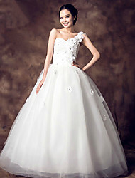 Ball Gown Wedding Dress - White Floor-length One Shoulder Organza