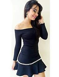 Women's Club A Line Dress,Solid Off Shoulder Above Knee Long Sleeve Black All Seasons