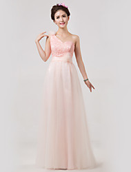 Floor-length Bridesmaid Dress - Pearl Pink A-line One Shoulder