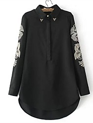 Women's Print White/Black Blouse , Shirt Collar Long Sleeve