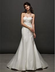 Trumpet/Mermaid Wedding Dress - Ivory Court Train Strapless Tulle