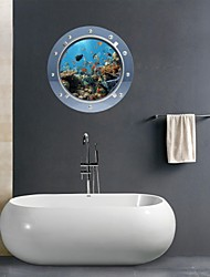 3D Wall Stickers Wall Decals, Marine Organisms Bathroom Decor Mural PVC Wall Stickers