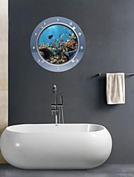 Pegatinas de pared de etiquetas de la pared 3d, organismos marinos cuarto de baño decoración mural de pvc pegatinas de pared