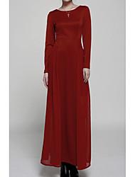 Leneve Women's Fashion Retro Elegant Solid Color Dress
