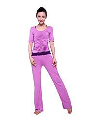 Mujer Yoga Trajes Medias mangas Rojo / Rosa / Negro / Borgoña / Azul Laguna Yoga M / L / XL