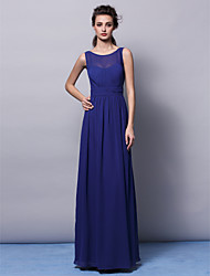 Sheath / Column Jewel Neck Floor Length Chiffon Bridesmaid Dress with Draping Sash / Ribbon Ruching by LAN TING BRIDE®