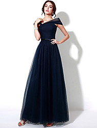 Formal Evening Dress - Dark Navy Plus Sizes / Petite A-line Off-the-shoulder Floor-length