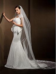 Wedding Veils Women's Elegant Tulle One-tier Lace Applique Edge Veils