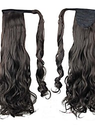 Excellent Quality Synthetic Hairpiece 26 Inch Long Black Curly Clip In Ponytail
