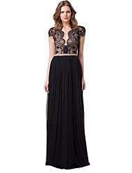 Womens Deep V Neck Backless Patchwork Long Dress