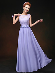 Sheath/Column Jewel Floor-length Bridesmaid Dress