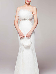 Trumpet/Mermaid Sweep/Brush Train Wedding Dress -Strapless Lace