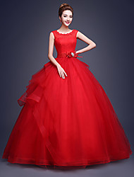 Ball Gown Wedding Dress - As Picture (color may vary by monitor) Court Train Scoop Tulle