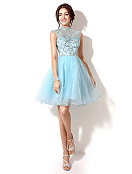 Homecoming A-line HighNeck Knee-length Evening Dress