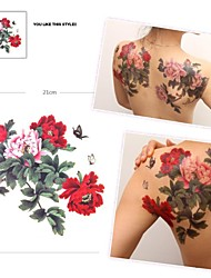 Grand autocollant waterproof 1pc papillon et fleurs multicolores motif tatouage