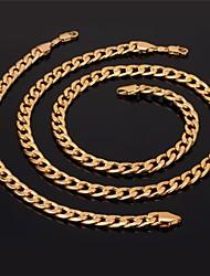 Fancy 18K Chunky Gold Plated Link Chain Necklace Bracelet Set for Men Women High Quality 18K Stamp 7MM 55CM