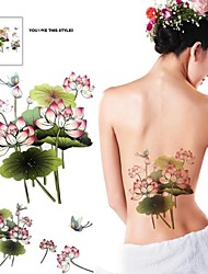 1 Pcs Waterproof  Multicolored Color Lotus Paste Butterfly Back  Pattern  Tattoo Stickers