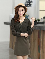 Women's  Chiffon  Fashion Style V-neck Long-Sleeved  Dress