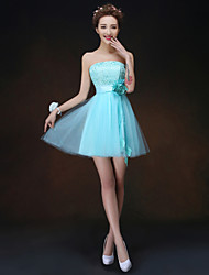 Short/Mini Bridesmaid Dress - Sky Blue A-line / Princess Strapless