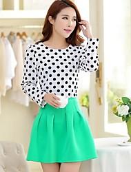 Women's Chiffon Polka Dots Suit(Blouse & Skirt)