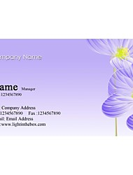 Personalized Business Cards 200 PCS Classic Purple Flower Pattern 2 Sided Printing of Fine Art Filmed Paper