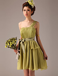 Knee-length Chiffon Bridesmaid Dress - Clover A-line One Shoulder