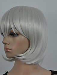 Women's Fashionable Grey  Medium Length Wig  with Side Bang
