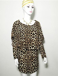 manteau léopard manches longues lâche la robe imprimée des femmes