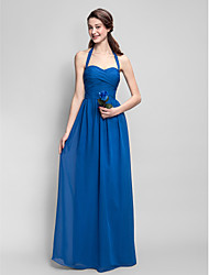 Lanting Bride® Floor-length Chiffon Bridesmaid Dress - Sheath / Column Halter Plus Size / Petite with Criss Cross / Ruching