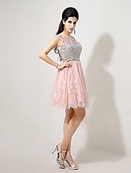 A-line Bateau Knee-length Evening Dress