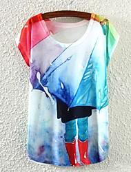 Damen Solide Einfach Lässig/Alltäglich T-shirt,Rundhalsausschnitt Frühling / Sommer / Herbst Kurzarm Weiß Dünn