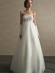 A-line Floor-length Wedding Dress -Strapless Lace