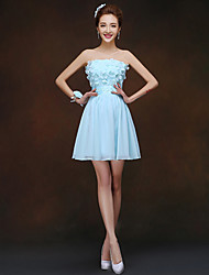 Short/Mini Bridesmaid Dress - Sky Blue Sheath/Column Strapless