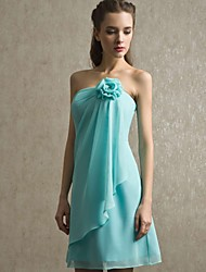 Knee-length Chiffon Bridesmaid Dress - Sky Blue Sheath/Column Strapless