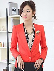 Women's Red/White Coat , Bodycon/Casual Long Sleeve