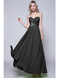 Floor-length Chiffon Bridesmaid Dress Sheath / Column Strapless with Criss Cross