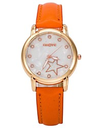 Women's Fashine Diamond Five-pointed Star Shell Surface Quartz Analog Bracelet Watch(Assorted Colors)