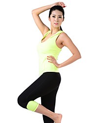 Mujer Yoga Trajes Sin Mangas Verde / Rosa Yoga M / L / XL