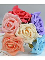 7-8CM/72PCS,Large Artificial Floral Foam PE Rose,Wire Stem,Diy Kissing Ball,Bridal Bouquet,Wedding Flower Decoration