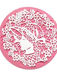 Small Round Woman Flower Fondant Lace Cake Molds
