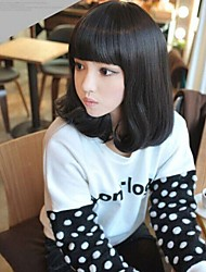 Angelaicos Womens Lolita Harajuku Style Girls Cute Natural Looking Party Daily Wear Hair Bob Wigs Medium Brown Black